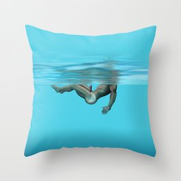 Swimming in the pool Throw Pillow