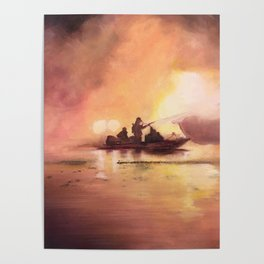 Marina Boat Fire - Fire Series Poster