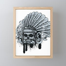 Chebeya Skull with Headdress Framed Mini Art Print