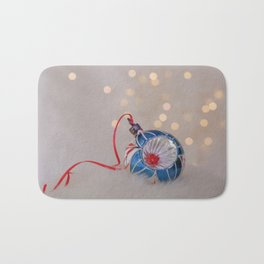 Vintage Chrismas Ball in Pink and Blue Bath Mat