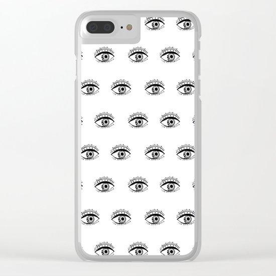 Linocut eyes pattern minimal black and white eye patterns Clear iPhone Case