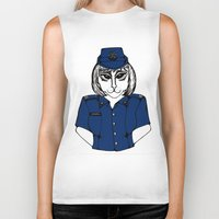 police Biker Tanks featuring Police Kitty by Sofy Rahman