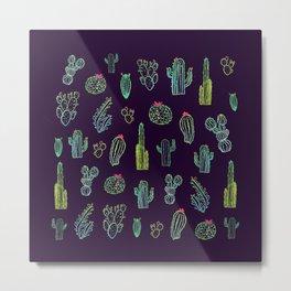 Dark Watercolour Cactus Metal Print