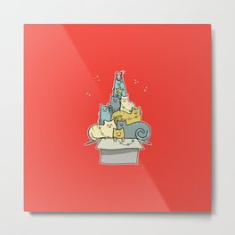 Cute Kawaii Cat Christmas Tree Metal Print