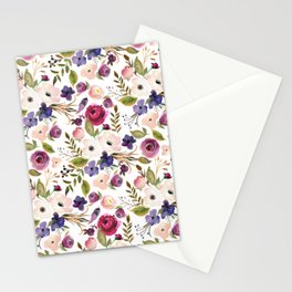 Violet and Pink Blossom on Gray Stationery Cards