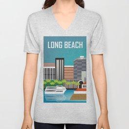 Long Beach, California - Skyline Illustration by Loose Petals Unisex V-Neck