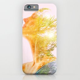 Multiple Exposure of woman and nature iPhone Case