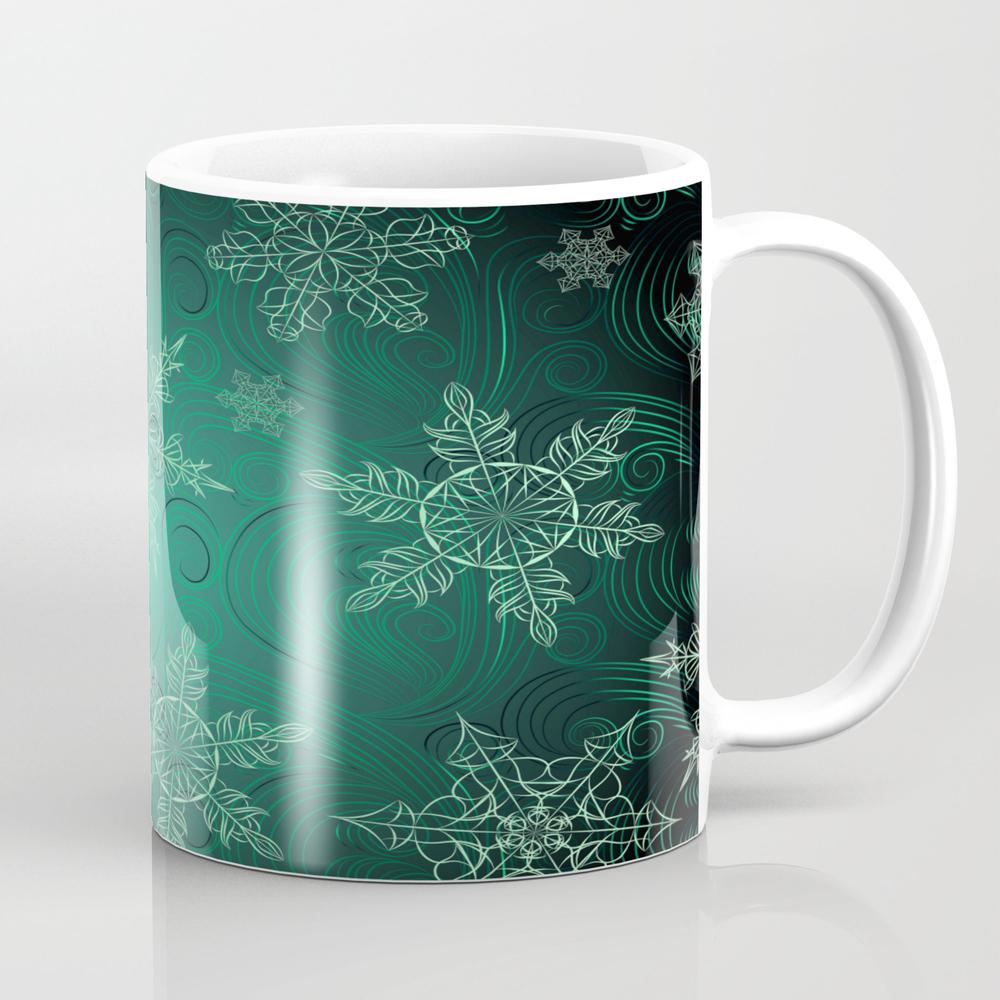 Snowflakes_green Tea Cup by Beliybro MUG8687566