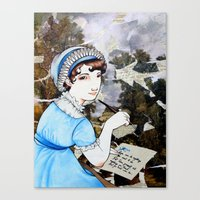jane austen Canvas Prints featuring Jane Austen by Makissima