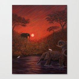 Elephants at the Waterhole Canvas Print