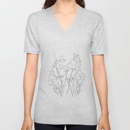 Minimal Line Art Summer Bouquet Unisex V-Neck