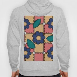 Retro Doodle Flower Style Quilt - Coral Yellow Dark Blue Hoody