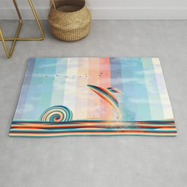 Retro whale in the ocean Rug