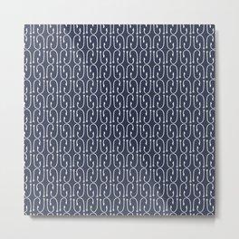 Fish Hooks in Navy Blue Metal Print