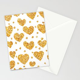 Gold glitter hearts pattern Stationery Cards