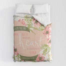 """""""All Your Heart"""" Floral Bible Verse Print Comforters"""