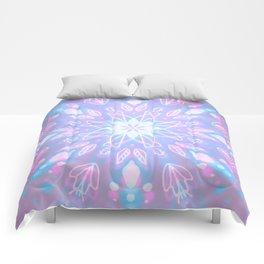 Purple, Teal, White Aura Mandala Comforters