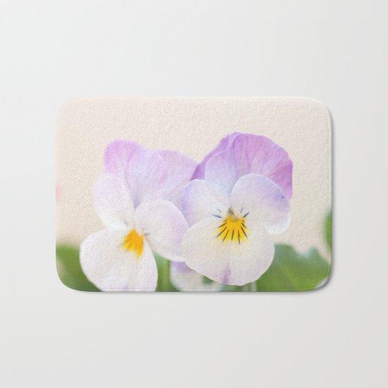 Spring Love #1 - Soft violet-white Pansies #decor #art #society6 Bath Mat