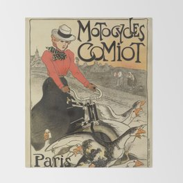 1899 vintage French motorcycle ad by Steinlen Throw Blanket