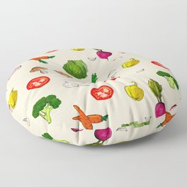 Vegetables pattern earthy colour background  Floor Pillow