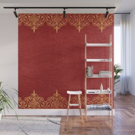 Red vintage leather gold lace frame Wall Mural