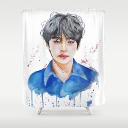 Taehyung watercolor Shower Curtain