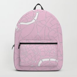 London Pink on White Street Map Backpack