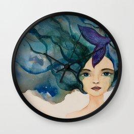 Watercolor Mermaid Blue Green Hair Wall Clock