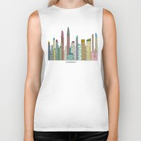 san diego Biker Tanks featuring San Diego skyline  by bri.buckley