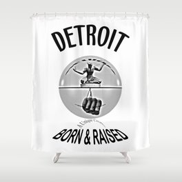 Detroit - Born & Raised - Dark Shower Curtain