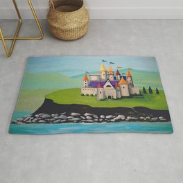 Kids Storybook Castle by the Water Rug