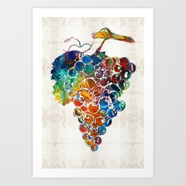 Colorful Grapes Fruit Art by Sharon Cummings Art Print