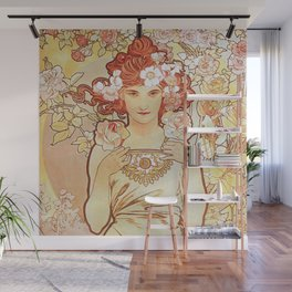 Rose by Alphonse Mucha 1897 // Vintage Girl with Red Hair Floral Love Design Wall Mural