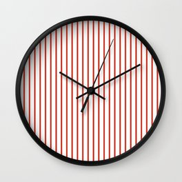 Dahlia Red Pinstripe on White Wall Clock