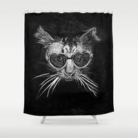 black cat Shower Curtains featuring Black Cat by PhotoStories