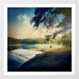 Misty Canoe Art Print