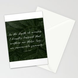 In the depth of winter,I finally learned that  within me there lay an invincible summer-Albert Camus Stationery Cards