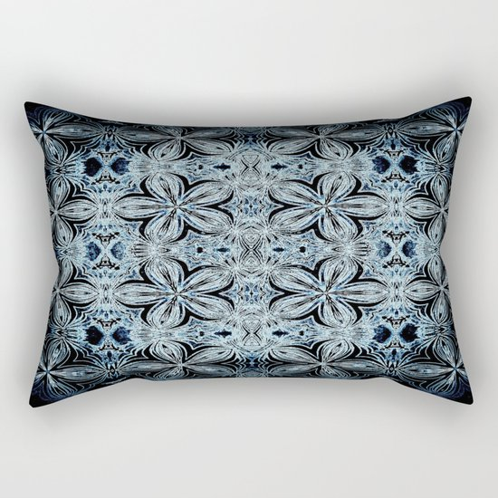 Blue & Black Etched Delicate Flowers Rectangular Pillow