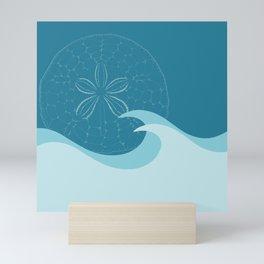 Waves with Sand Dollar - Digital Art  Mini Art Print