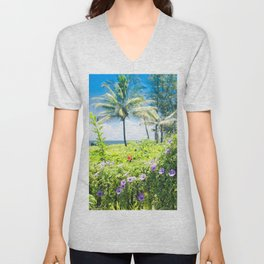 Ipomoea Keanae Morning Glory Maui Hawaii Unisex V-Neck