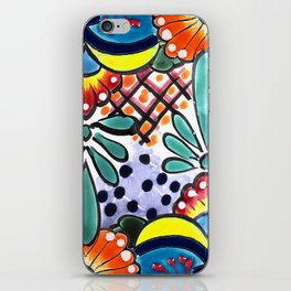 Colorful Talavera, Yellow Accent, Large, Mexican Tile Design iPhone Skin