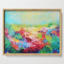 ETHERIAL DAYS - Stunning Floral Landscape Nature Wildflower Field Colorful Bright Floral Painting Serving Tray