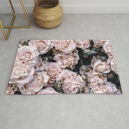 Rustic country botanical blush pink green roses floral Rug