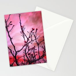 Dark Branches Red Buds And Fiery Sky Stationery Cards