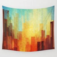 wall clock Wall Tapestries featuring Urban sunset by SensualPatterns