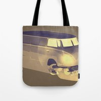 volkswagen Tote Bags featuring Skull Volkswagen by Bright Enough💡