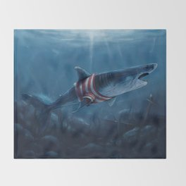 Shark in a Shirt Throw Blanket