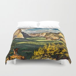 Yosemite Travel Poster Duvet Cover