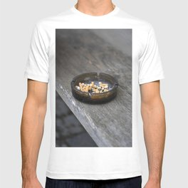 Ashtray filled with cigarette butts and ashes T-shirt