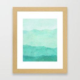 Ombre Waves in Teal Framed Art Print
